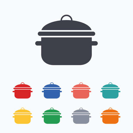 boil: Cooking pan sign icon. Boil or stew food symbol. Colored flat icons on white background.
