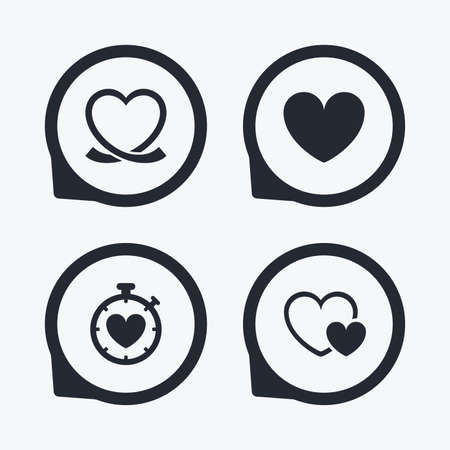palpitation: Heart ribbon icon. Timer stopwatch symbol. Love and Heartbeat palpitation signs. Flat icon pointers. Illustration