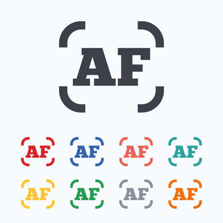 autofocus: Autofocus photo camera sign icon. AF Settings symbol. Colored flat icons on white background.