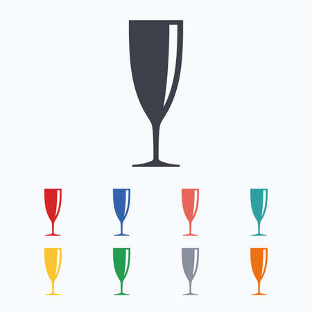banquet: Glass of champagne sign icon. Sparkling wine. Celebration or banquet alcohol drink symbol. Colored flat icons on white background.