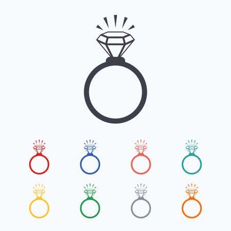 diamonds on black: Ring sign icon. Jewelry with shine diamond symbol. Wedding or engagement day symbol. Colored flat icons on white background.