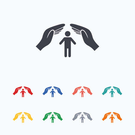 Human life insurance sign icon. Hands protect man symbol. Health insurance. Colored flat icons on white background.