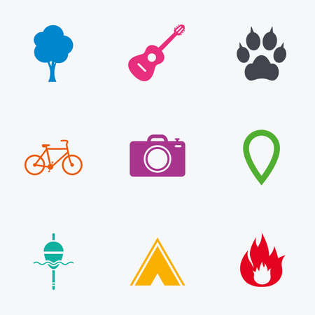 clutches: Tourism, camping icons. Fishing, fire and bike signs. Guitar music, photo camera and paw with clutches. Flat colored graphic icons. Illustration