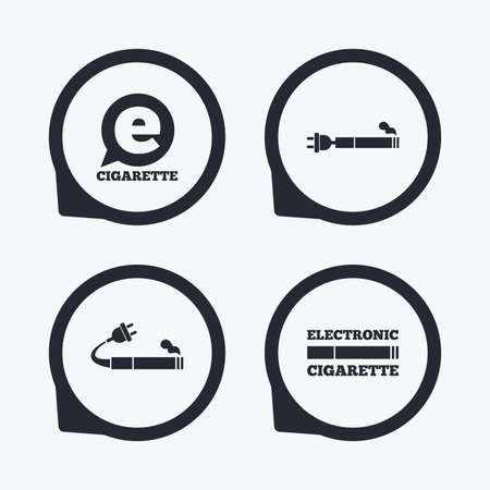 e cig: E-Cigarette with plug icons. Electronic smoking symbols. Speech bubble sign. Flat icon pointers. Illustration