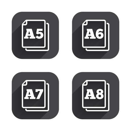 a7: Paper size standard icons. Document symbols. A5, A6, A7 and A8 page signs. Square flat buttons with long shadow. Illustration