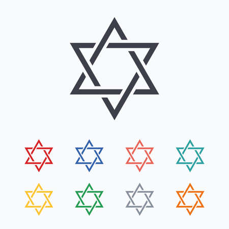 hexagram: Star of David sign icon. Symbol of Israel. Jewish hexagram symbol. Shield of David. Colored flat icons on white background.