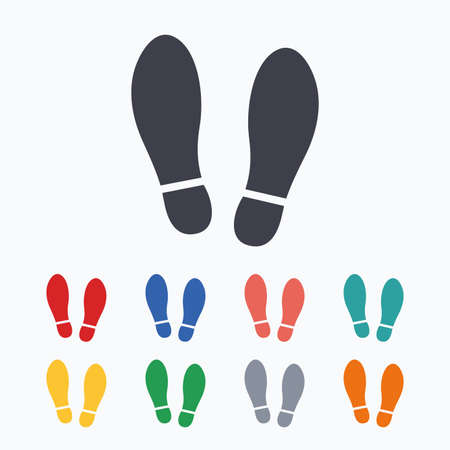 Imprint soles shoes sign icon. Shoe print symbol. Colored flat icons on white background. Stock Illustratie