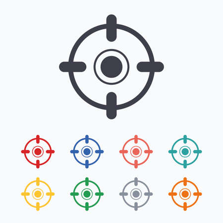 seal gun: Crosshair sign icon. Target aim symbol. Colored flat icons on white background. Illustration