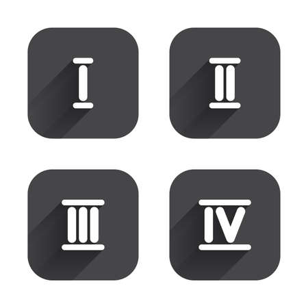 Roman numeral icons. 1, 2, 3 and 4 digit characters. Ancient Rome numeric system. Square flat buttons with long shadow.