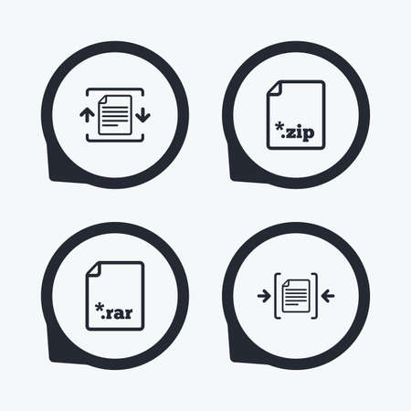 compression: Archive file icons. Compressed zipped document signs. Data compression symbols. Flat icon pointers. Illustration