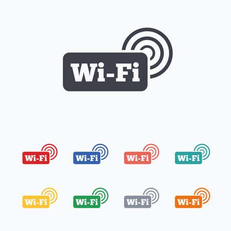 무료 와이파이 표지판. 와이파이 기호. 무선 네트워크 아이콘. 와이파이 존. 흰색 배경에 색된 플랫 아이콘입니다.