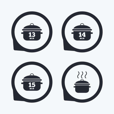 stew pan: Cooking pan icons. Boil 13, 14 and 15 minutes signs. Stew food symbol. Flat icon pointers. Illustration