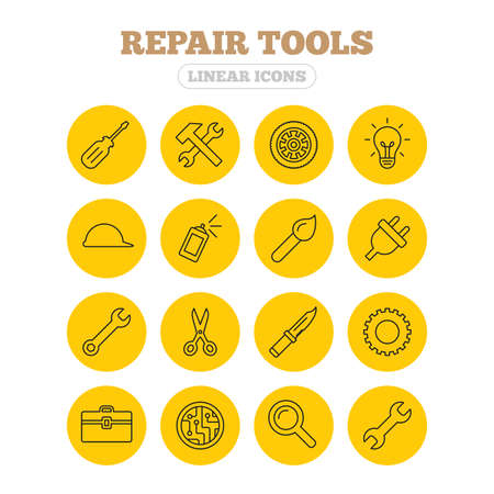construction icons: Repair tools icons. Hammer with wrench key, wheel and brush. Screwdriver, electric plug and scissors. Circuit board, magnifying glass and construction helmet. Linear icons on yellow buttons. Illustration