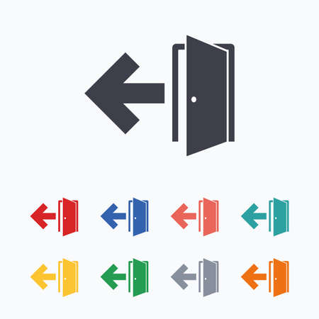 fire exit: Emergency exit sign icon. Door with left arrow symbol. Fire exit. Colored flat icons on white background.