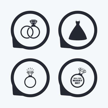 position d amour: Robe de mariée icône. Mariée et anneaux marié symbole. Mariage ou anneau de jour de fiançailles briller avec le signe de diamant. Veux-tu m'épouser? Flat icon pointeurs.