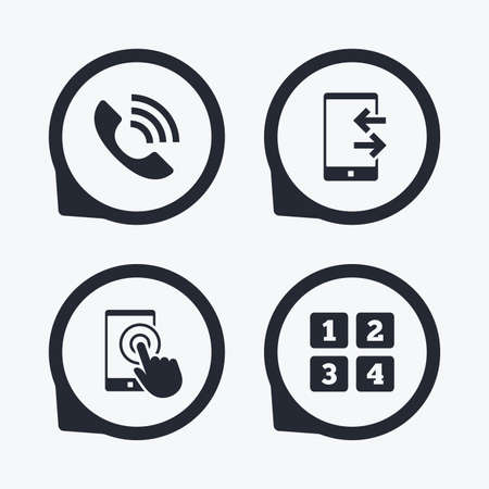 touch screen phone: Phone icons. Touch screen smartphone sign. Call center support symbol. Cellphone keyboard symbol. Incoming and outcoming calls. Flat icon pointers.