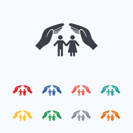 Couple life insurance sign icon. Hands protect human group symbol. Health insurance. Colored flat icons on white background.