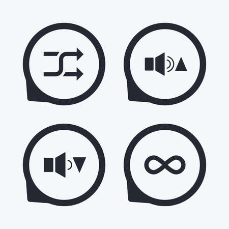 quieter: Player control icons. Sound louder and quieter signs. Dynamic symbol. Shuffle random and repeat loop. Flat icon pointers.