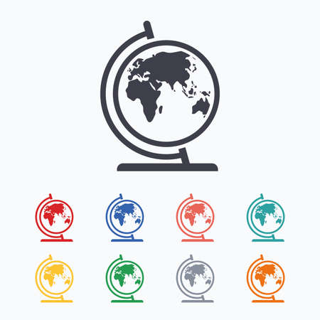 geography background: Globe sign icon. World map geography symbol. Globe on stand for studying. Colored flat icons on white background.