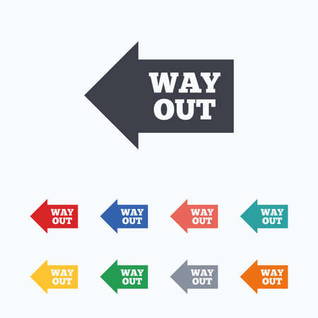 way out: Way out left sign icon. Arrow symbol. Colored flat icons on white background.
