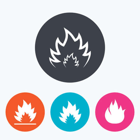 inflammable: Fire flame icons. Heat symbols. Inflammable signs. Circle flat buttons with icon.