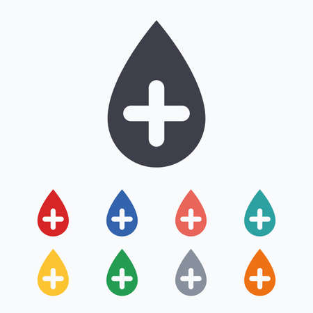 Water drop with plus sign icon. Softens water symbol. Colored flat icons on white background.