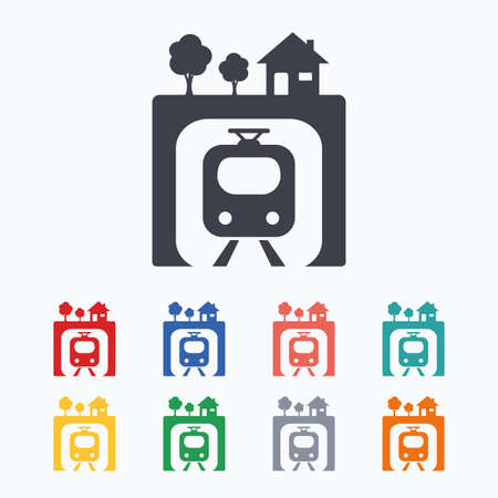 metro train: Underground sign icon. Metro train symbol. Colored flat icons on white background.