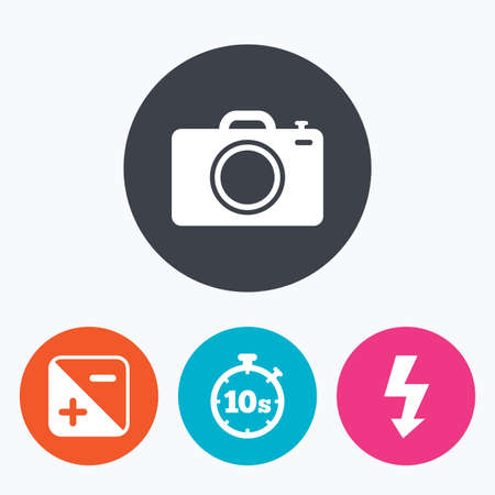 luminance: Photo camera icon. Flash light and exposure symbols. Stopwatch timer 10 seconds sign. Circle flat buttons with icon. Illustration