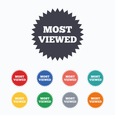 viewed: Most viewed sign icon. Most watched symbol. Colored flat icons on white background.