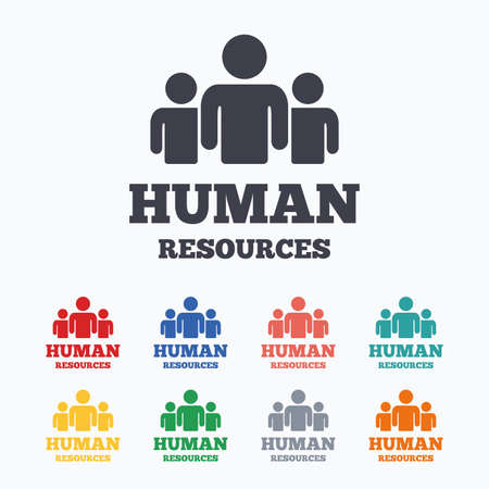 Human resources sign icon. HR symbol. Workforce of business organization. Group of people. Colored flat icons on white background.
