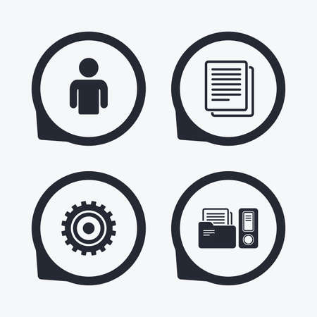 financial position: Accounting workflow icons. Human silhouette, cogwheel gear and documents folders signs symbols. Flat icon pointers.