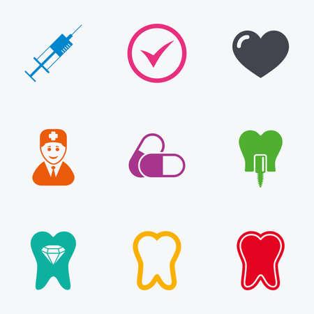 dientes sanos: Diente, iconos de atención dental. Estomatología, jeringa y signos de implantes. Los dientes sanos, dentista y píldoras símbolos. iconos gráficos de colores planos.
