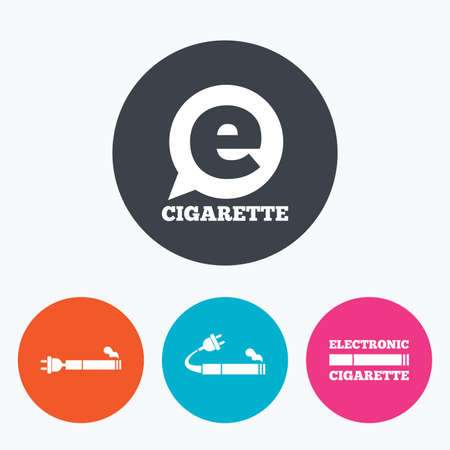 e cig: E-Cigarette with plug icons. Electronic smoking symbols. Speech bubble sign. Circle flat buttons with icon.
