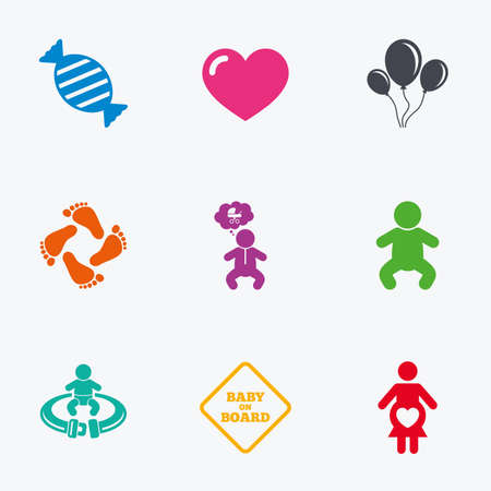 to fasten: Pregnancy, maternity and baby care icons. Candy, strollers and fasten seat belt signs. Footprint, love and balloon symbols. Flat colored graphic icons. Illustration