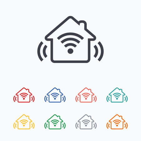 Smart home sign icon. Smart house button. Remote control. Colored flat icons on white background.