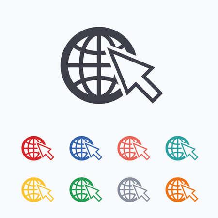 Internet sign icon. World wide web symbol. Cursor pointer. Colored flat icons on white background. Векторная Иллюстрация