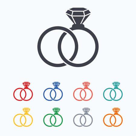verlobung: Trauringe Zeichen-Symbol. Verpflichtungs-Symbol. Farbige flache Ikonen auf wei�em Hintergrund. Illustration