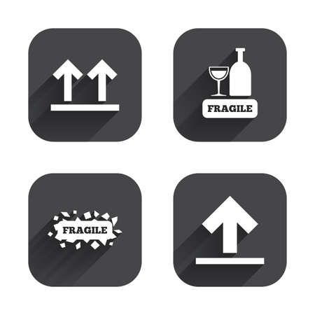 brittle: Fragile icons. Delicate package delivery signs. This side up arrows symbol. Square flat buttons with long shadow.