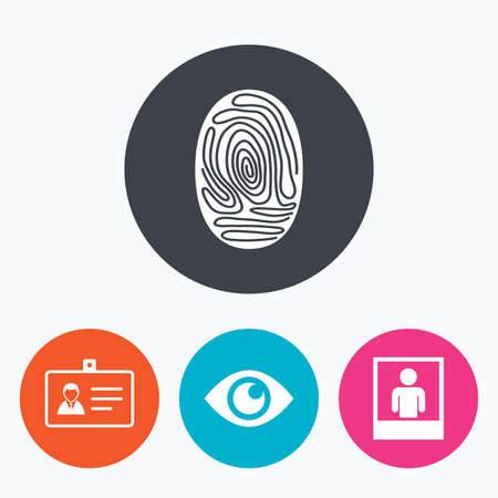photo icon: Identity ID card badge icons. Eye and fingerprint symbols. Authentication signs. Photo frame with human person. Circle flat buttons with icon.