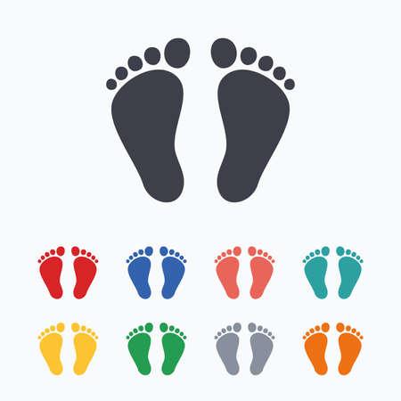 huella pie: Niño par de icono de señal de la huella. Niño símbolo de los pies descalzos. iconos planos de colores sobre fondo blanco.