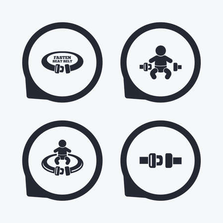 safety belt: Fasten seat belt icons. Child safety in accident symbols. Vehicle safety belt signs. Flat icon pointers. Illustration