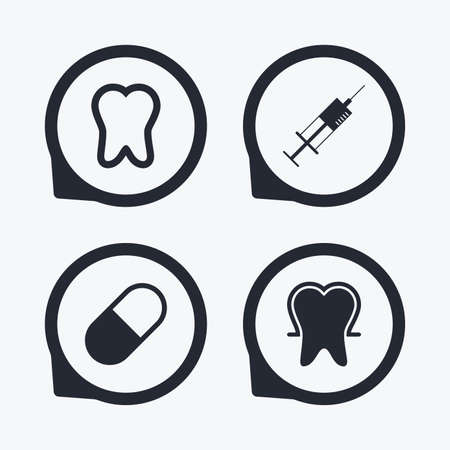 enamel: Tooth enamel protection icons. Medical syringe and pill signs. Medicine injection symbol. Flat icon pointers.