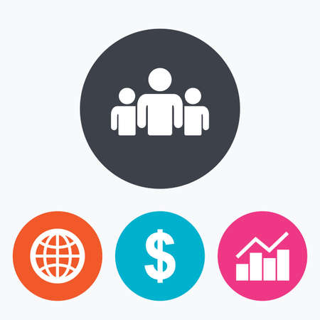 friend chart: Business icons. Graph chart and globe signs. Dollar currency and group of people symbols. Circle flat buttons with icon. Illustration