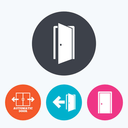 automatic doors: Automatic door icon. Emergency exit with arrow symbols. Fire exit signs. Circle flat buttons with icon. Illustration