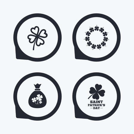 feast of saint patrick: Saint Patrick day icons. Money bag with clover sign. Wreath of quatrefoil clovers. Symbol of good luck. Flat icon pointers.