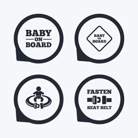 token: Baby on board icons. Infant caution signs. Fasten seat belt symbol. Flat icon pointers.