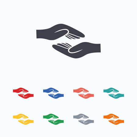 Ayudar a las manos icono de la muestra. Caridad o símbolo de dotación. palma de la mano humana. iconos planos de colores sobre fondo blanco. Ilustración de vector