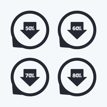 50 to 60: Sale arrow tag icons. Discount special offer symbols. 50%, 60%, 70% and 80% percent discount signs. Flat icon pointers.