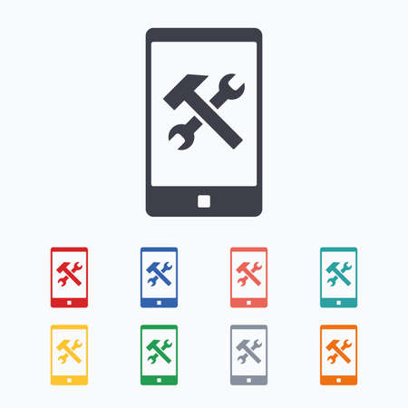 screw key: Smartphone repair sign icon. Service symbol. Hammer with wrench. Colored flat icons on white background.