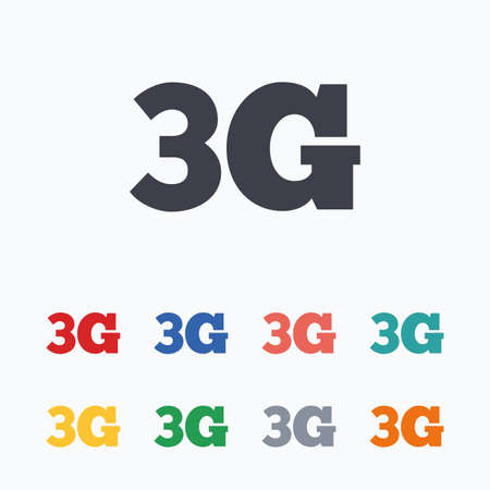 3g: 3G sign icon. Mobile telecommunications technology symbol. Colored flat icons on white background.